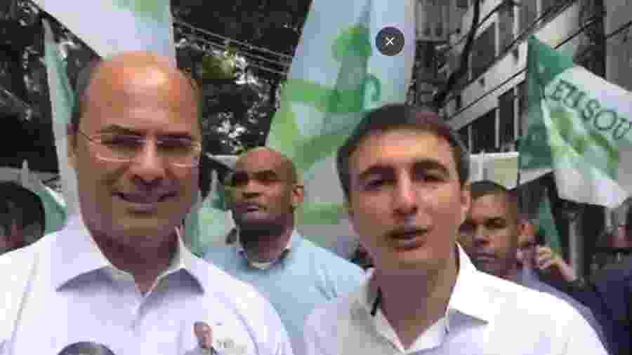 Pedro Fernandes (direita) em ato de campanha com o governador Wilson Witzel - Reprodução