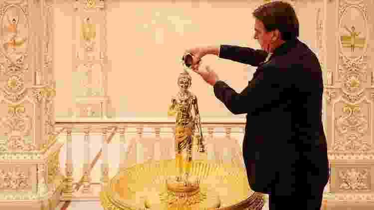 Bolsonaro em visita ao Templo de Akshardham, em Nova Déli - Alan Santos/PR