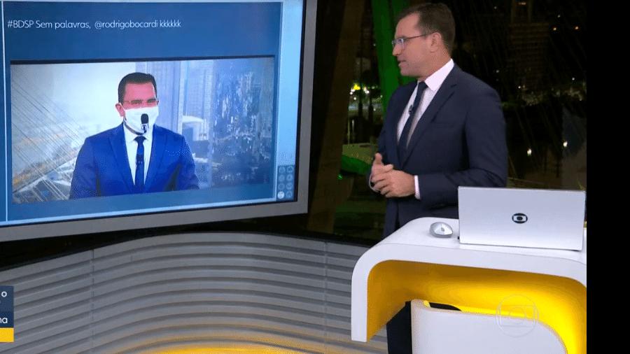 Bocardi fala sobre repercussão da máscara de microfone que usou no Bom Dia Brasil  - Reprodução/TV Globo