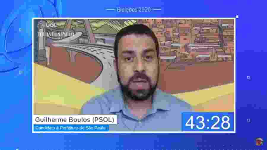 Guilherme Boulos (PSOL), candidato à Prefeitura de São Paulo, participa de sabatina UOL/Folha - Reprodução