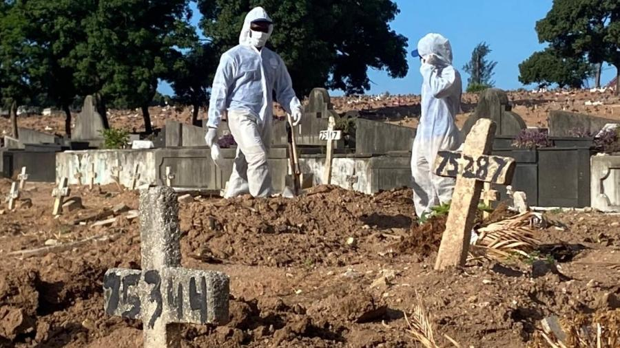 Sepultamento de vítima de covid-19 no cemitério do Caju, zona norte do Rio - Herculano Barreto Filho/UOL
