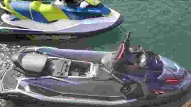 Jet skis apreendidos pela polícia na caa de André do Rap, em Angra dos Reis  - Reprodução/SSP - Reprodução/SSP