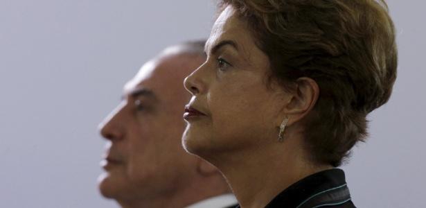 A presidente Dilma e o vice, Michel Temer, durante cerimônia no Clube do Exército