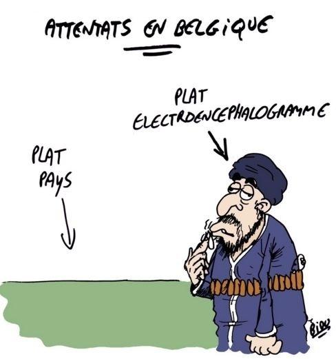 """22.mar.2016 - O cartunista francês Bidu divulgou uma série de charges sobre o ataque terrorista desta terça-feira na Bélgica. Neste, ele faz um trocadilho entre """"Países Baixos"""", em referência à Bélgica, e """"baixo encefalograma"""", em alusão à inteligência do terrorista"""