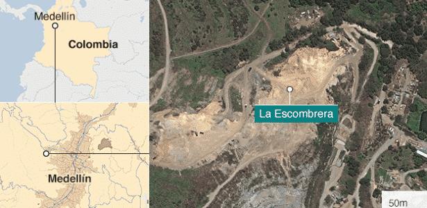 Mapa da Escombreira, em Medellín  - BBC - BBC