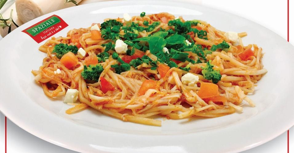 Espaguete de pupunha, feito pela franquia  Spaziale Italiana, de São José do Rio Preto