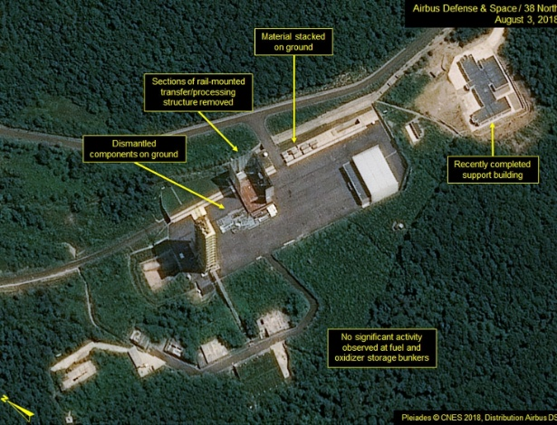 Foto de satélite mostram que a Coreia do Norte parou o desmantelamento da base de mísseis de Sohae - Pleiades © CNES 2018 via Reuters