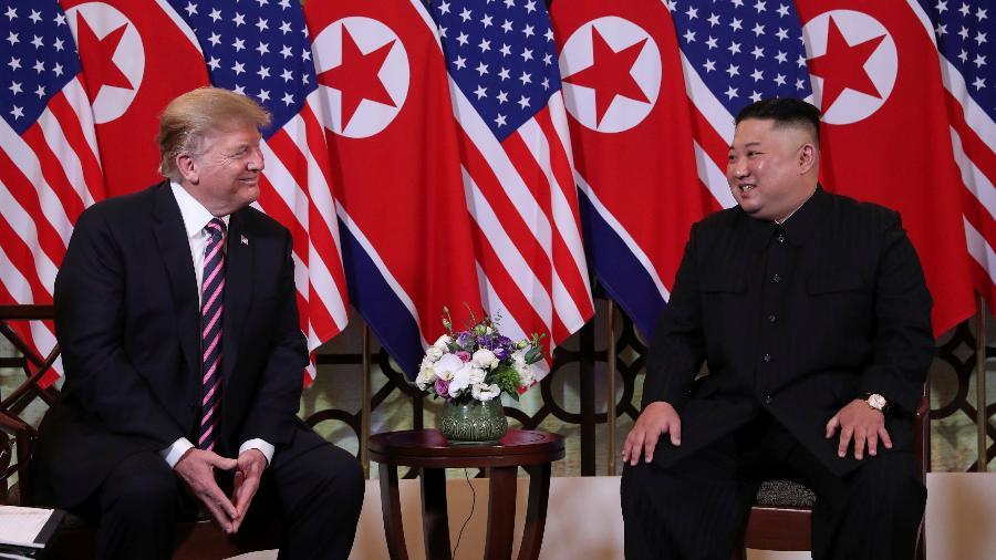 27.fev.2019 - O presidente dos Estados Unidos, Donald Trump, se encontra pela segunda vez com o líder da Coreia do Norte, Kim Jong-un, em Hanoi, Vietnã - Leah Millis/Reuters