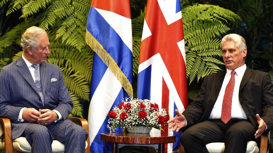 25.mar.2019 - Presidente cubano Miguel Diaz-Canel se reúne com o Príncipe Charles da Inglaterra em havana, Cuba - Xinhua