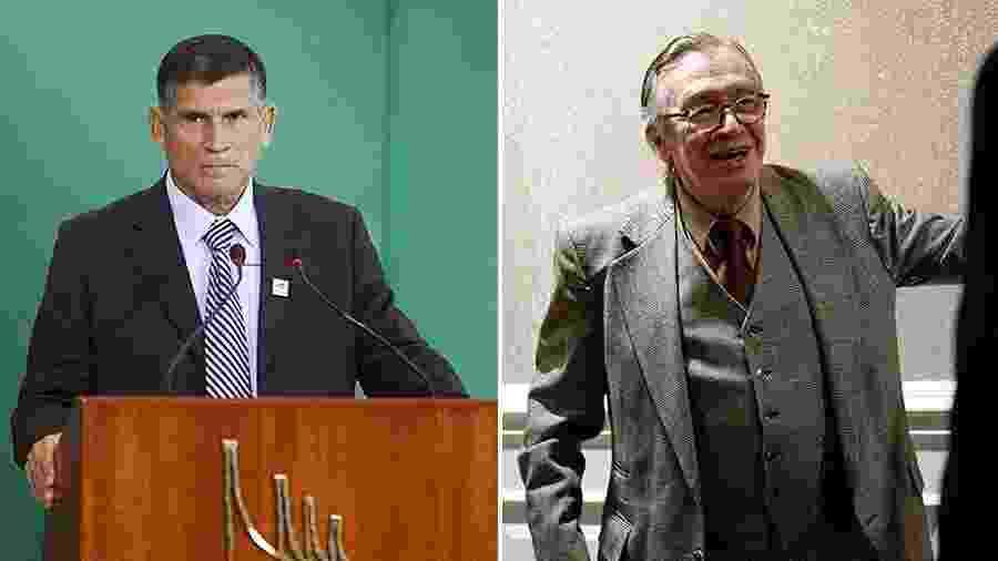 6.mai.2019 - O ministro da Secretaria de Governo, general Alberto Santos Cruz (à esquerda na foto), e o escritor Olavo de Carvalho - Arte/UOL