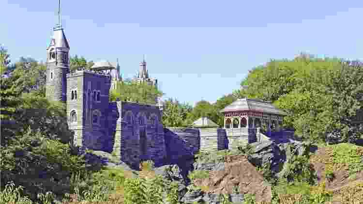 Em certas partes do Central Park, o xisto chega à superfície, como no Castelo Belvedere - Getty Images