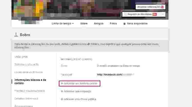 Página de perfil do Facebook permite adicionar número de telefone celular - Reprodução