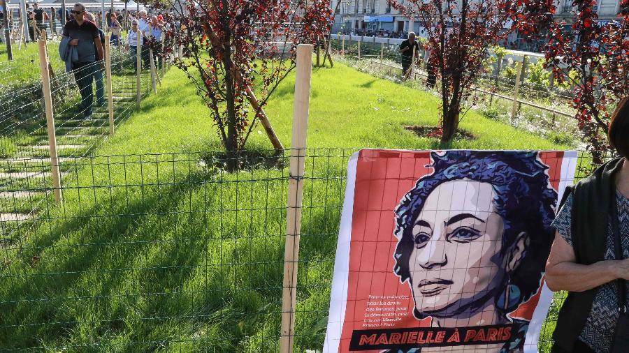 Jardim batizado com nome de Marielle Franco é inaugurado em Paris - JACQUES DEMARTHON/AFP