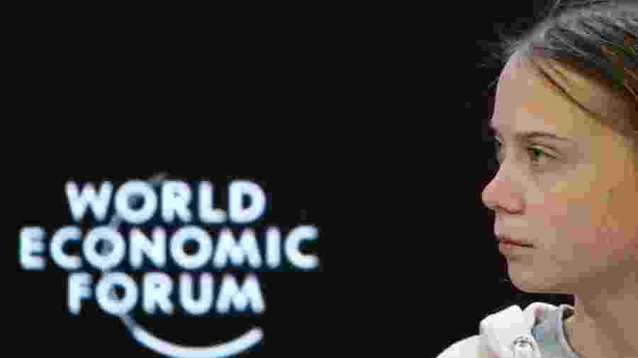 Ativista Greta Thunberg em painel do 50º Fórum Econômico Mundial, em Davos, Suíça - DENIS BALIBOUSE