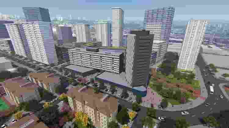 Modelo de como ficarão os prédios de apartamentos do PIU com equipamentos públicos no térreo e o Cingapura Madeirite reformado - Divulgação/Votorantim S.A.