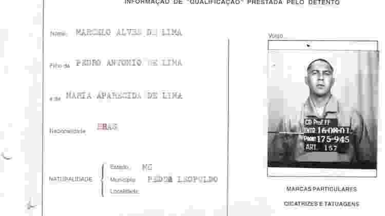 Albiazer entrou com nome falso de Marcelo Alves de Lima na Casa de Detenção, no Carandiru, em 2001 - Reprodução/SSP - Reprodução/SSP