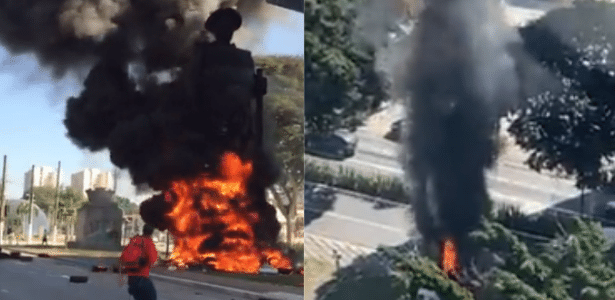 Estátua de bandeirante | Estátua de Borba Gato é incendiada por grupo em São Paulo
