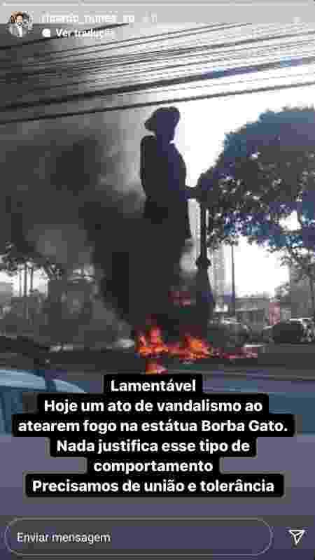 Ricardo Nunes lamenta ato que incendiou estátua do Borba Gato - Reprodução - Reprodução