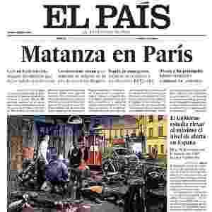 """14.nov.2015 - Em sua versão impressa, o espanhol El País traz o relato de um sobrevivente: """"Uma carniceria. Deixei a meus amigos lá dentro"""", afirma o título, sobre o pior dos ataques, na casa de espetáculos Bataclan - Reprodução"""