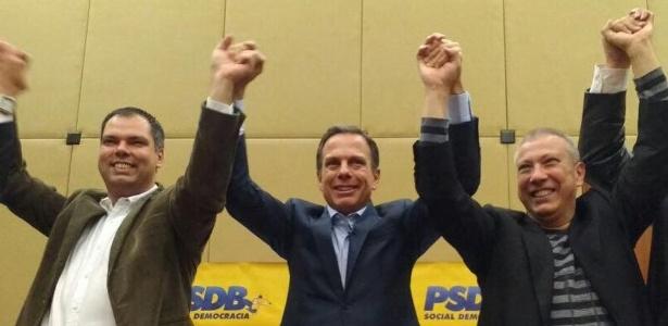 Bruno Covas (à esq.), vice de Doria Jr. (centro) é um dos deputados eleitos já no 1º turno