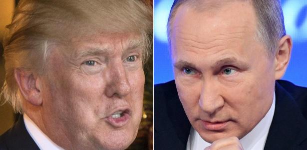Trump (e) disse que pretende se encontrar com o presidente russo (d) após a posse