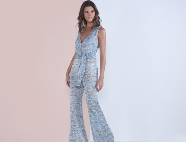 Renata Campos macacão de tricô mescla zig-zag