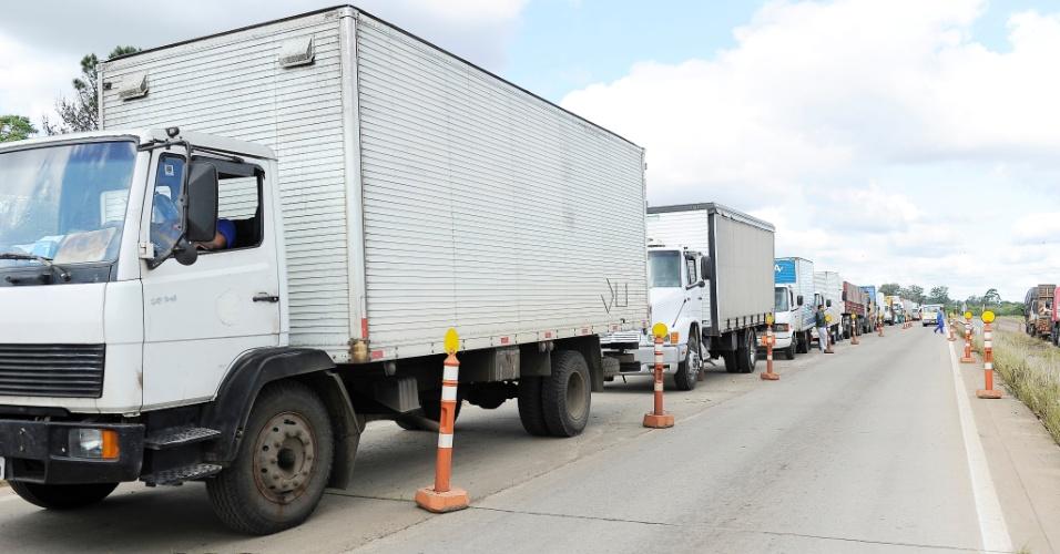 Protesto na rodovia ERS-118, em Cachoeirinha (SC). Manifestantes liberam a passagem de carros, ônibus e caminhões com cargas perecíveis