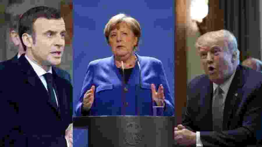 Enquanto os líderes Macron, da França, e Merkel, da Alemanha, tiveram suas respostas à pandemia elogiadas, Trump gerou polarização - GETTY IMAGES/REUTERS