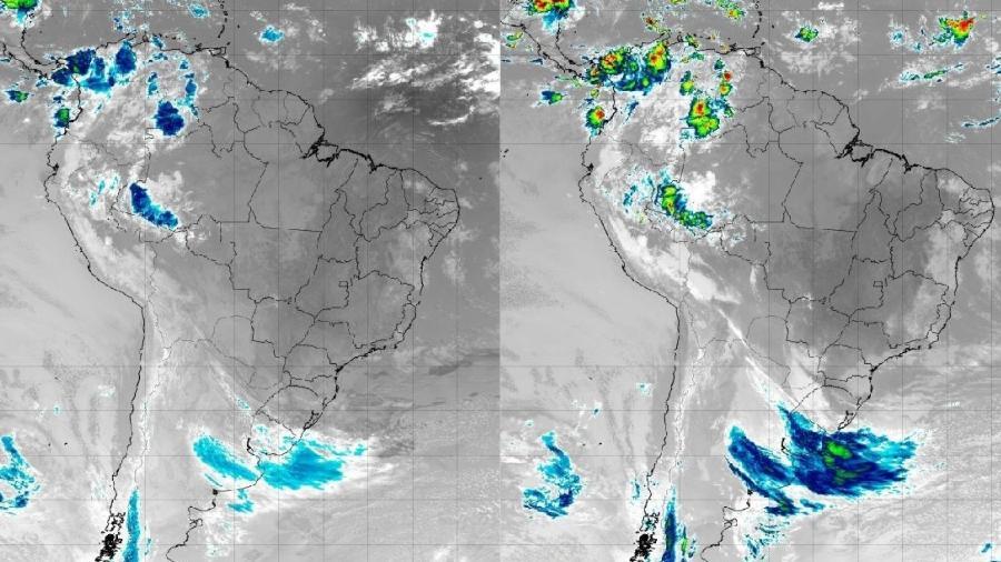 Imagens de satélite mostram ciclone extratropical se aproximando da região Sul do Brasil - Satélite GOES-16/Canal 13