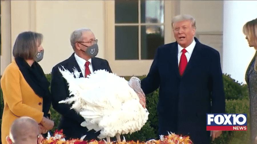 24.nov.2020 - Trump participa de cerimônia de Ações de Graça, na Casa Branca - Reprodução