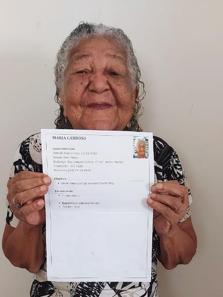 Maria Cardoso, de 101 anos, procurava emprego para comprar vinho e carne - Arquivo pessoal