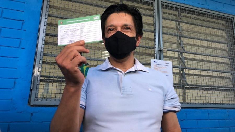 O prefeito de São Paulo, Ricardo Nunes (MDB), foi vacinado com a primeira dose da AstraZeneca - Lucas Borges Teixeira/UOL