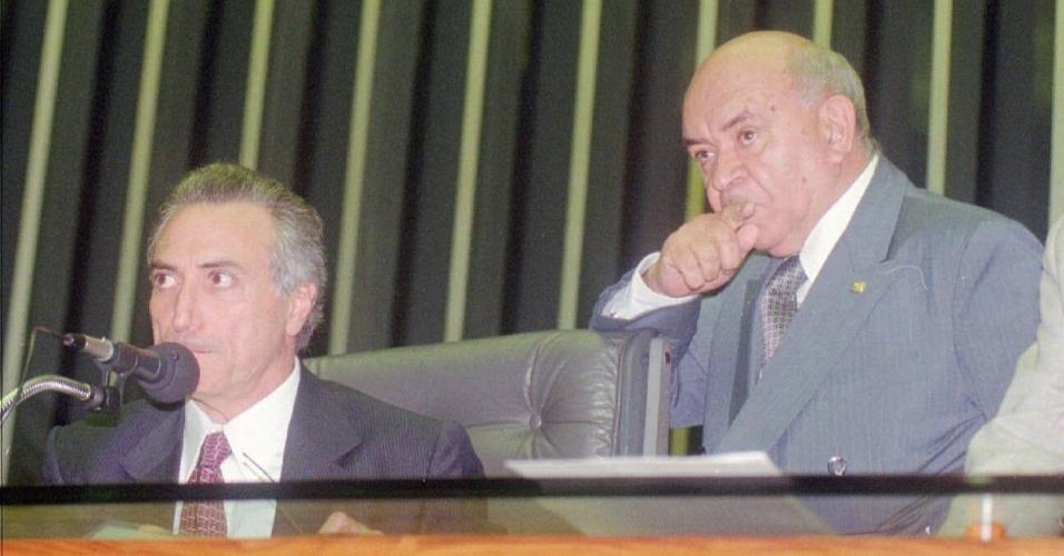 17.mai.1997 - Deputados Michel Temer e Severino Cavalcanti no plenário da Câmara