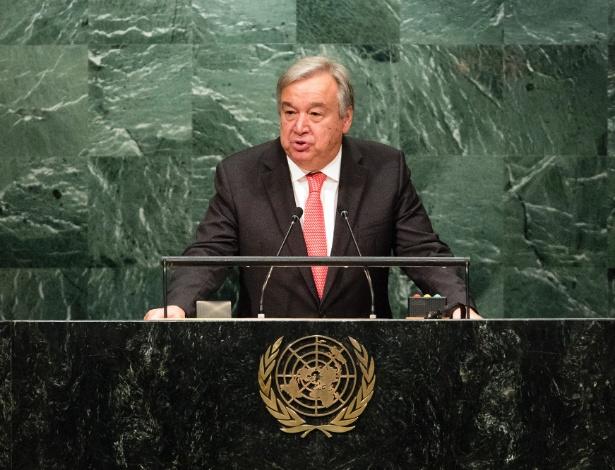 António Guterres fala à Assembleia Geral da ONU após ser apontado como o novo secretário-geral, na sede do organismo em Nova York