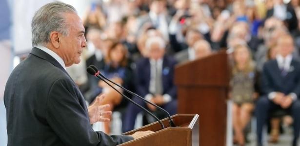 Presidente Michel Temer durante discurso