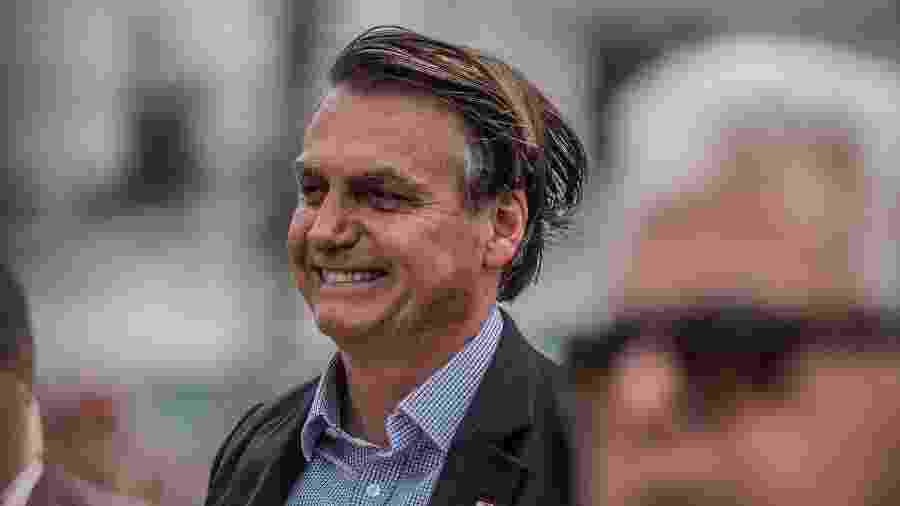 23.nov.2019 - O presidente da República, Jair Bolsonaro, na celebração do 74º aniversário de criação da Brigada de Infantaria Paraquedista - Maga Jr./O Fotográfico/Estadão Conteúdo