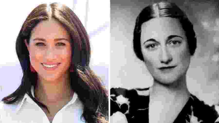 Assim como Wallis Simpson, Meghan Markle (à esq.) também é americana e divorciada - Getty Images
