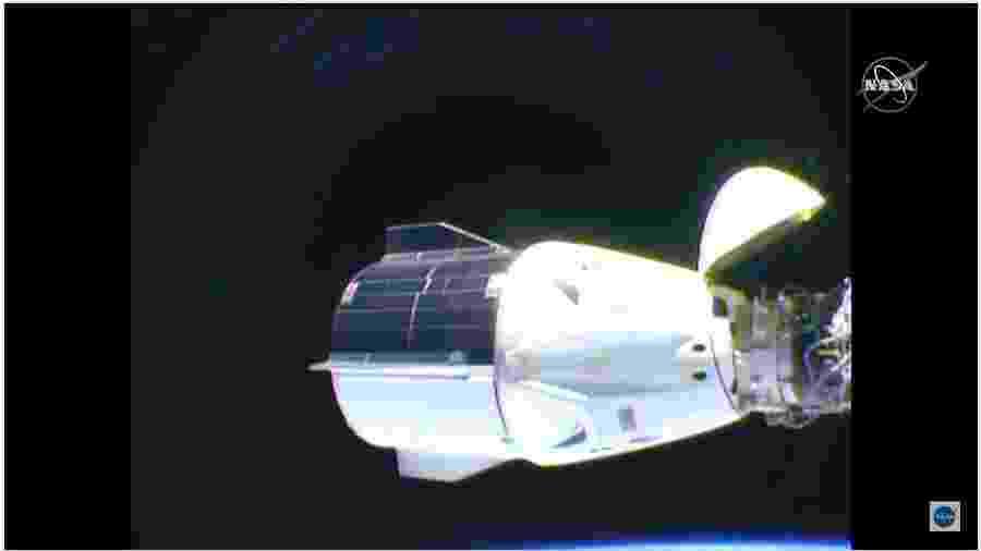 Cápsula Crew Dragon, da SpaceX, vista da ISS (Estação Espacial Internacional) - Reprodução/Nasa