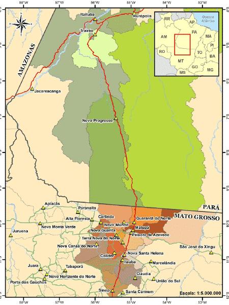 Contestado pelo MPF, projeto da Ferrogrão liga os municípios de Sinop (MT) e Itaituba (PA) - Divulgação/Governo Federal