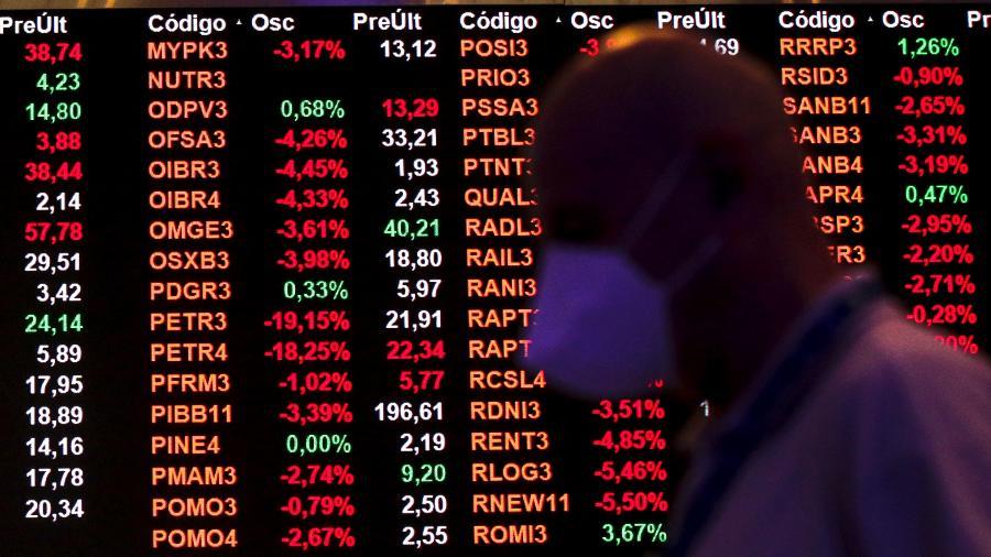 22.fev.2021 - Bolsa de Valores: ações da Petrobras despencaram quase 20% no Ibovespa após anúncio de troca no comando da estatal - Suamy Beydoun/AGIF/Estadão Conteúdo