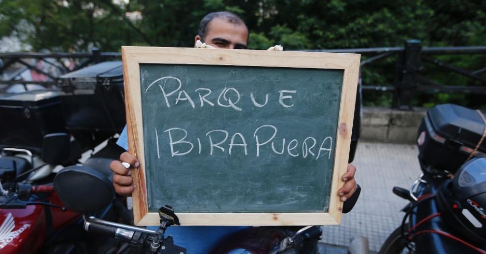"""""""O Parque do Ibirapuera é bom para passear, andar de bicicleta, se divertir, passar um tempo com a família. Vou até lá em todos os finais de semana""""."""