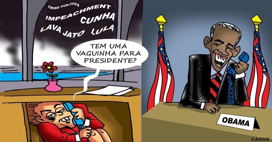 9.mar.2016 - Em meio à crise, será que Obama arruma uma vaga para Dilma?