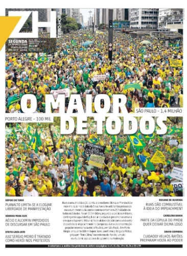 RS: Capa do jornal Zero Hora de 14 de março de 2016