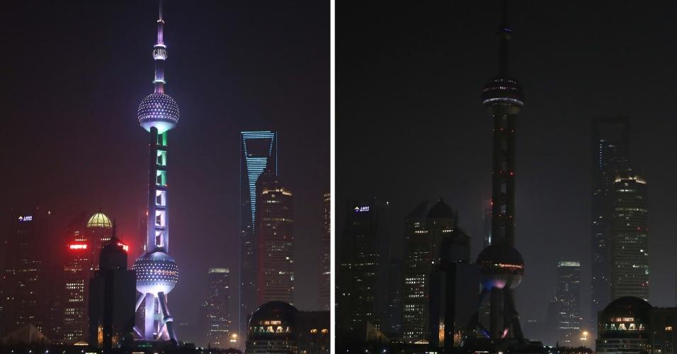 19.mar.2016 - Em Xangai, na China, o centro financeiro Lujiazui é apagado durante a 10ª edição da Hora do Planeta, ação da WWF que inclui mais de 150 países neste ano