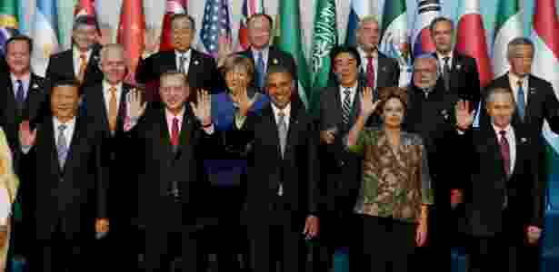 15.nov.2015 - Foto oficial do G20 em Antalya, na Turquia - Berk Ozkan/AFP - Berk Ozkan/AFP