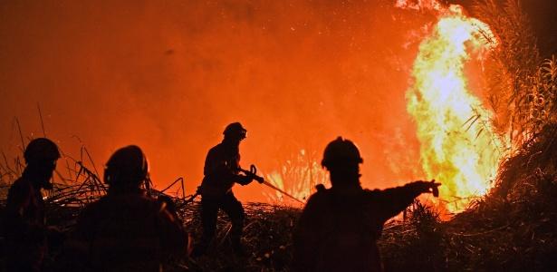 Bombeiros combatem incêndio na região de Abrantes, em Portugal