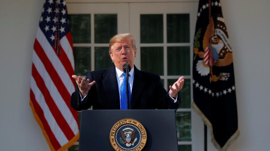 15.fev.2019 - Presidente dos EUA Donald Trump declara emergência nacional da Casa Branca - Carlos Barria/Reuters