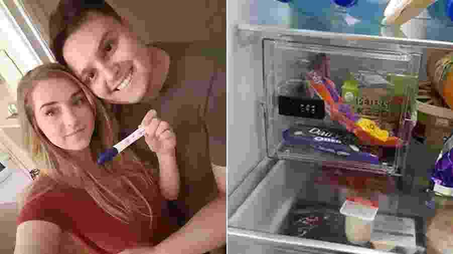 """Dá uma olhada no cofre que Dave Williams instalou na geladeira... Tudo para Stacey, sua noiva, não """"roubar"""" chocolates - Reprodução/Facebook"""