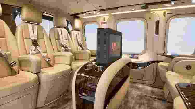 Helicóptero AW139 configurado com o interior Fivestar, com frigobar e espaço para TV de bordo - Divulgação/Leonardo Helicopters