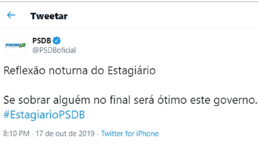 Perfil oficial do PSDB no Twitter faz piada com crise do PSL - Reprodução